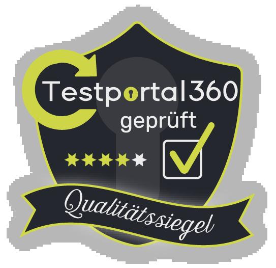 Testportal360 Qualitätssiegel - 3,8 Sterne