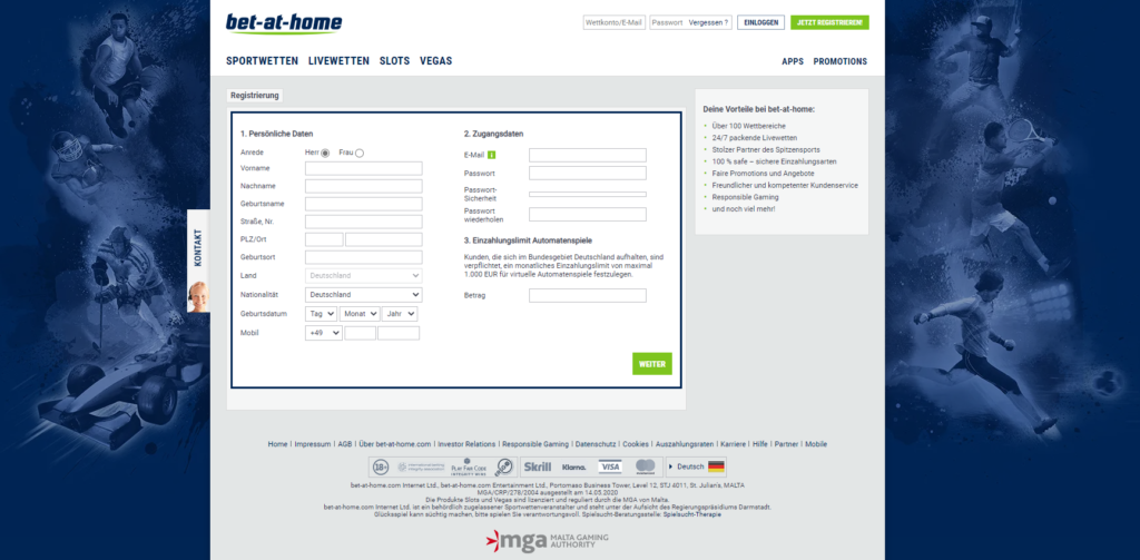 bet-at-home Test Registierung