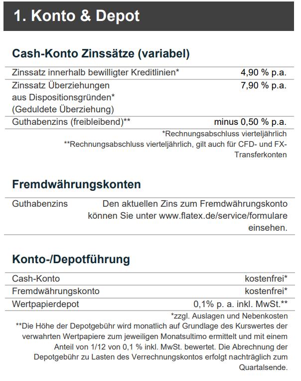 Depotkosten bei Flatex