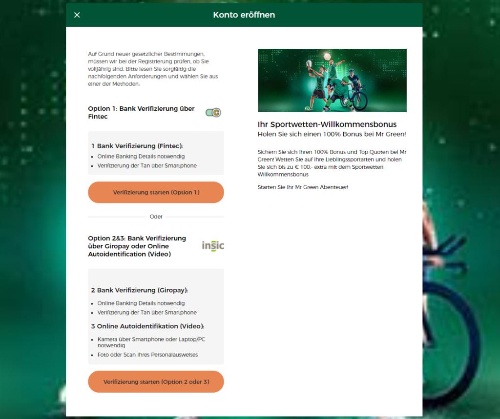 Verifizierung im Mr Green Sportwetten Test